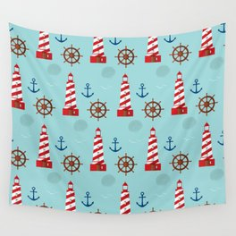 Marine theme on blue Wall Tapestry