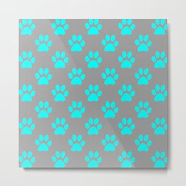 Blue paw prints pattern Metal Print