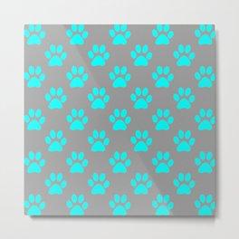 Blue paw prints pattern Metal Print