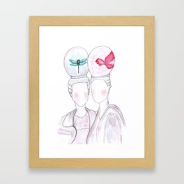 girls with imaginary animals in their heads Framed Art Print
