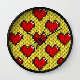 Knitted heart pattern - yellow Wall Clock