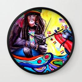 Monkey Smoking Outsider Art Painting Wall Clock