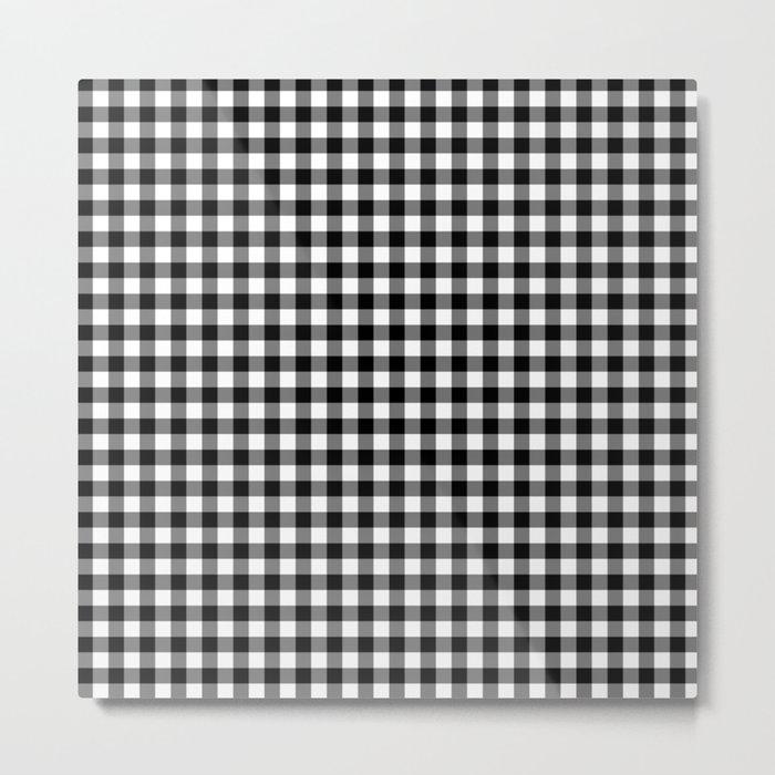 Gingham Black and White Pattern Metal Print