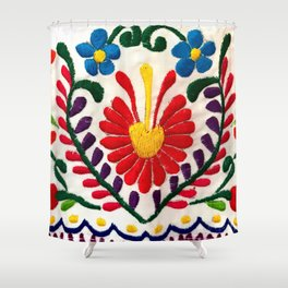 Red Mexican Flower Shower Curtain