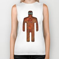 super hero Biker Tanks featuring Rust Man - Super Hero by Paul Stickland for StrangeStore