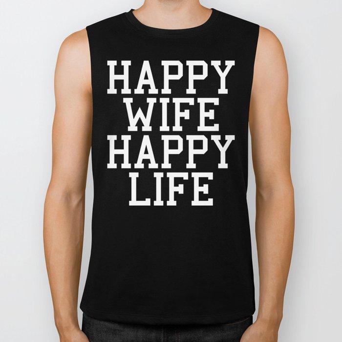 Happy Wife Happy Life Funny Quote Biker Tank By Envyart Society6