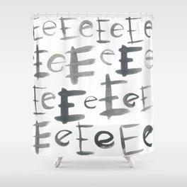 Watercolor E's - Grey Gray Shower Curtain
