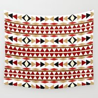navajo Wall Tapestries featuring Navajo White Pattern Art by Christina Rollo