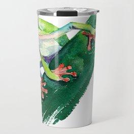 Frog. Watercolor illustration. Hand drawing Travel Mug