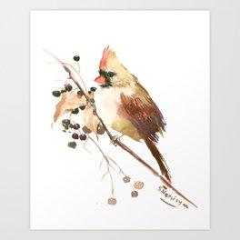Cardinal Bird and Fall Berries Art Print