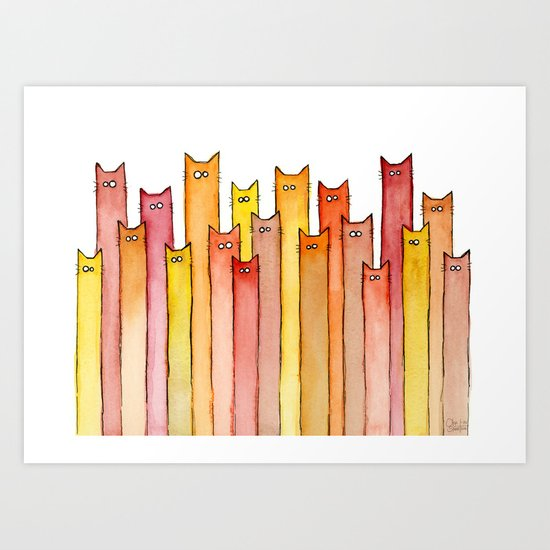 Cats Autumn Colors Pattern Whimsical Cat Orange Red Yellow Animals Art Print