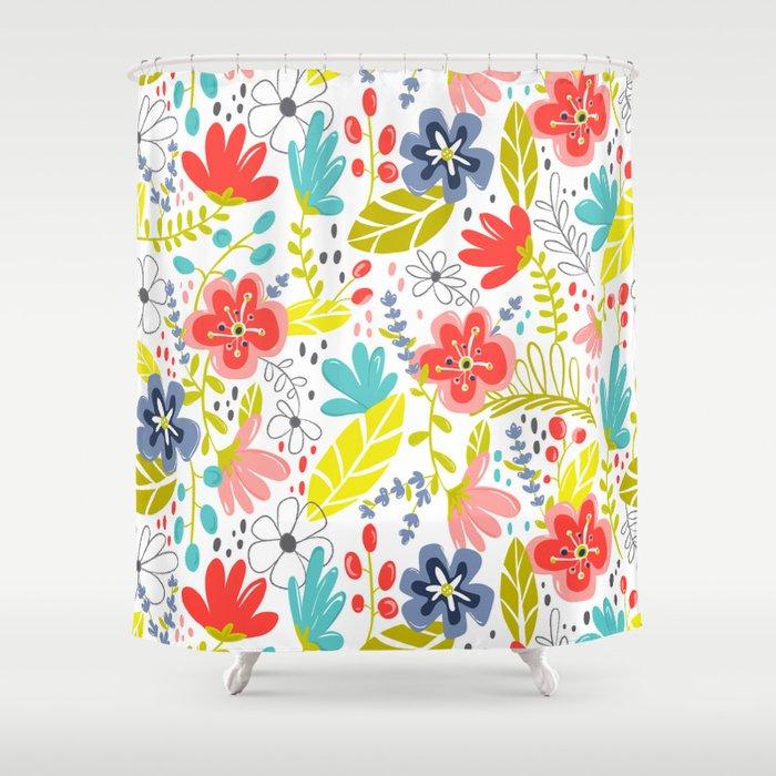 Wildflower Shower Curtain By Heatherduttonhangtightstudio