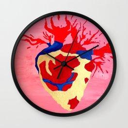 Cool Golden Heart Original Painting On Canvas Wall Clock