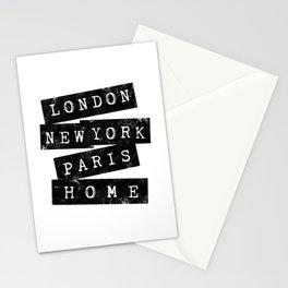 LONDON, NEW YORK, PARIS, HOME Stationery Cards