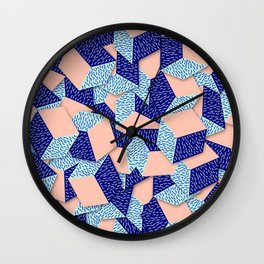 Colorful Aqua Geometric Pattern Wall Clock