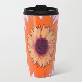Western Style Chocolate Brown Pink-Orange Sunflower Art Travel Mug