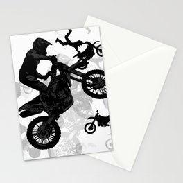 High Flying Stuntmen - Motocross Riders Stationery Cards
