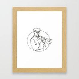 Jazz Musician Playing Trumpet Doodle Art Framed Art Print