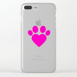 Cute Heart Paw Kawaii Print design Funny Love Gift Clear iPhone Case