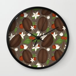 Hand-drawn coffee pattern for all coffee lovers in brown palette Wall Clock
