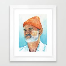Steve Zissou Art Life Aquatic Bill Murray Watercolor Portrait Framed Art Print