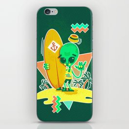 Alien Surfer Nineties Pattern iPhone Skin