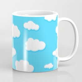 sky of blue and fluffly white clouds Coffee Mug