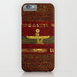 Golden Egyptian God Ornament on red leather iPhone Case