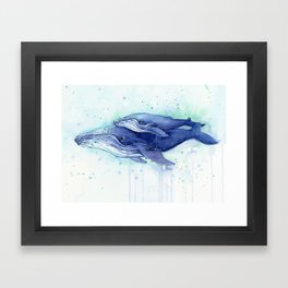 Humpback Whale Watercolor Mom and Baby Painting Whales Sea Creatures Framed Art Print