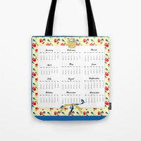 calendar 2015 Tote Bags featuring 2015 Calendar, Bluebirds and Geraniums by KarenHarveyCox