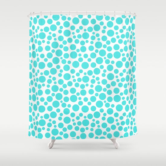 Turquoise Polka Dots On A White Background Shower