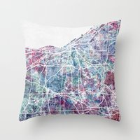 cleveland Throw Pillows featuring Cleveland map by MapMapMaps.Watercolors