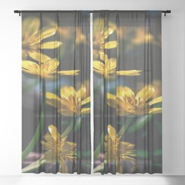 Yellow Spring Flowers Sheer Curtain