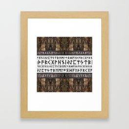 Elder Futhark on wooden texture Framed Art Print