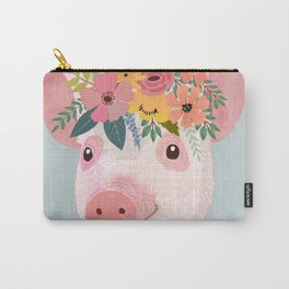 Pig with floral crown, farm animal Carry-All Pouch