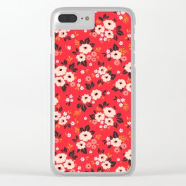 05 Ditsy floral pattern. Red background. White and pink flowers. Clear iPhone Case