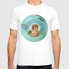Angel playing music in space MEDIUM White Mens Fitted Tee