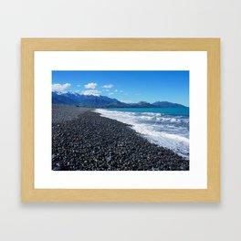 Black Stone Beach Framed Art Print