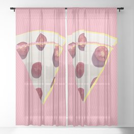 Think about pizza Sheer Curtain