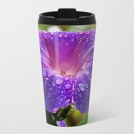 Morning Glory Petals and Dew Drops Vector Travel Mug