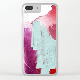 Desert Daydreams [3]: a colorful abstract mixed media piece in purple blue pinks and orange Clear iPhone Case