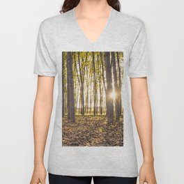 Sunbeams between tree trunks in a forest in autumn Unisex V-Neck