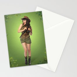 """Attention Campers"" - The Playful Pinup - Jungle Adventure Pin-up Girl by Maxwell H. Johnson Stationery Cards"