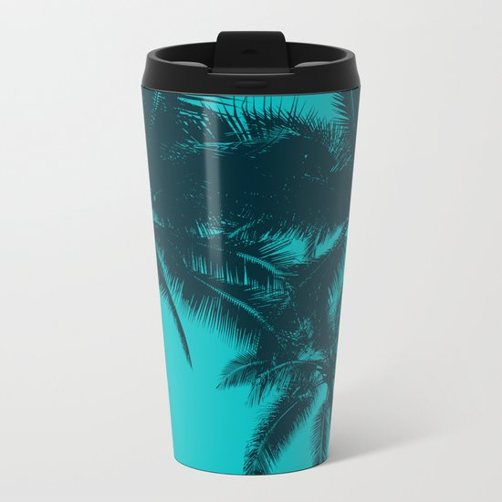 Blue palms in summer Metal Travel Mug