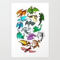 dragons Art Prints featuring Dragons by prpldragon