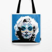 marylin monroe Tote Bags featuring Marylin de los Muertos 2 by jazzyjules63