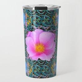 PINK  ROSE & BLUE MORNING GLORIES  BOTANICAL ART Travel Mug