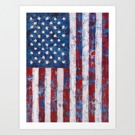 Distressed American Flag vertical hang Art Print