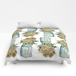Watercolor Sunflower Vase Comforters