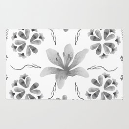 Inky Floral Rorschach Rug